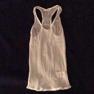 🎀2/$20 GUESS Collection White Pinstripe Mesh Tank